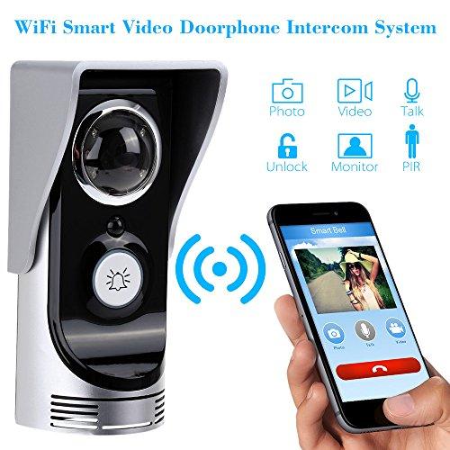 KKmoon Interfono Intercomunicador Wifi Inalámbrico Video 0.3MP Timbre Impermeable Visión Nocturna Compatible con Smartphone iOS Android-OS width=