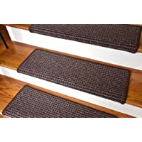 Dean Modern DIY Peel and Stick Bullnose Wraparound Non-Skid Carpet Stair Treads - Cobbler Brown 30
