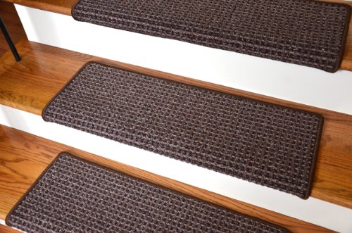 "Dean Modern Diy Peel And Stick Bullnose Wraparound Non-Skid Carpet Stair Treads - Cobbler Brown 30""W (15) front-240123"