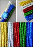 100 Tinsel Craft Stems / Glitter Pipe Cleaners