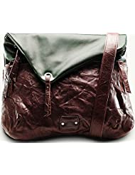 Twach Wrinkled Globetrotter Cross Body Leather Bag (Green Brown)
