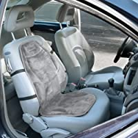 The Wagan IN9438-2 Soft Velour Heated Seat Cushion installed on passenger side with straps