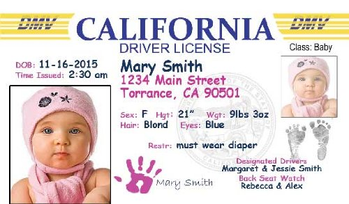 personalized baby drivers license set of 20 birth announcement
