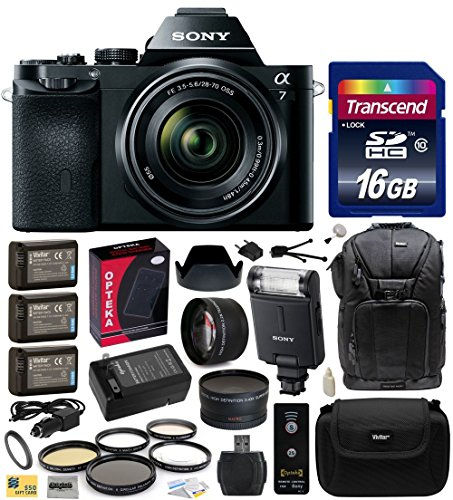 Sony A7K A7 Full-Frame Dslr 24.3 Mp Interchangeable Digital Lens Camera With Fe 28-70Mm F/3.5-5.6 Oss Lens With Advanced Accessories Bundle Kit Includes Sony Hvl-F20M External Flash + 16Gb Class 10 Sdhc Memory Card + X3 Replacement (1200Mah) Np-Fw50 Batte