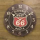 ルート66 カフェクロック 掛け時計 アンティーク風 ブラック