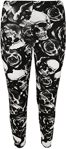 Women-printed-leggings-pants-Like-A-Boss-Work-Out-aztec-rose-and-skull-wet-look