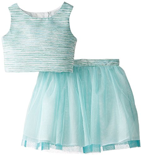 Rare Editions Little Girls' Dress Striped Bodice To Tulle Skirt Set, Aqua, 5