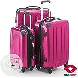 3 Valises rigide à roulettes avec serrure TSA 4 roues rose magenta Polycarbonate set Petite 57L, median 87L, Grande 130 L Hauptstadtkoffer