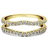 Platinum Double Shared Prong Curved Ring Guard with Diamonds (1 ct. twt.)