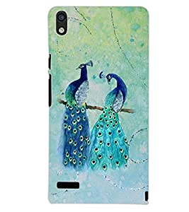PrintDhaba PEACOCK PAIR D-6824 Back Case Cover for HUAWEI ASCEND P6 (Multi-Coloured)