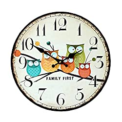 Retro Antique Style Owl Pattern Europe Style Living Room Home Decoration Wooden Round Wall Clock