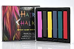Annic 6 Assorted Color Non-Toxic Temporary Hair Chalk Set