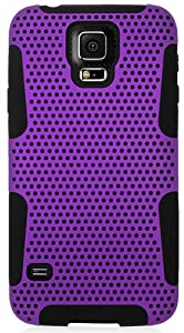 myLife Indigo Purple and Night Black - Perforated Mesh Series (2 Layer Neo Hybrid) Slim Armor Case for the NEW Galaxy S5 (5G) Smartphone by Samsung (External Rubberized Hard Shell Mesh Piece + Internal Soft Silicone Flexible Gel)