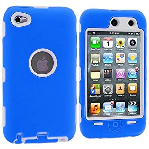Blue / White 3-Piece Deluxe Hybrid Premium Rugged Hard Soft Case Skin Cover for iPod Touch 4th Generation 4G 4