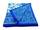 Shop Rajasthan Blue Floral Reversible Floral Print Cotton Jaipuri Modern Single Bed Quilt