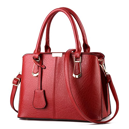 IMaySon(TM) Women's Simple Kingly Beautiful Fashionable Elegant Leather Bag Handbag(Red)
