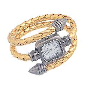 8Years(R) New Fashion Watch Women's Punk Wrap Genuine Leather Bullet Shape Fashion Watch Silver Strap