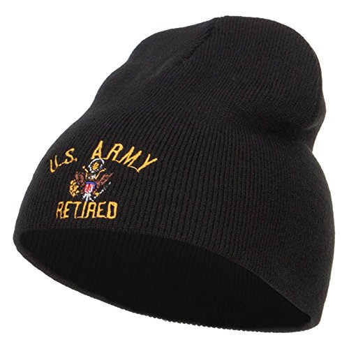 US Army Retired Embroidered Short Beanie - Black OSFM