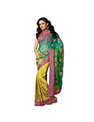 Designer Divine Yellow Embroidered Net,Faux Georgette Saree By Triveni