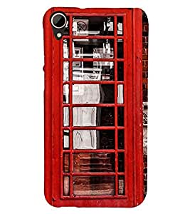 Printvisa Vintage Telephone Booth Pic Back Case Cover for HTC Desire 828
