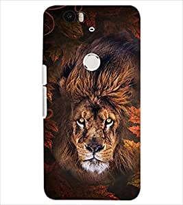 PrintDhaba ANGRY LION D-6181 Back Case Cover for HUAWEI NEXUS 6P (Multi-Coloured)