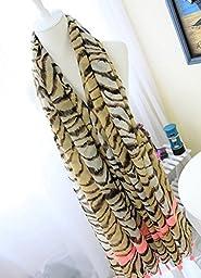 Avitalk Women\'s European Style Tiger Strip Printing Long Soft Fringed Scarf Wrap - Tiger Stripes