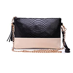 Zeagoo New Synthetic leather shoulder bags clutch Chain bag handbag Black