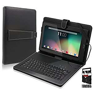 Tabsuit PU Leather Keyboard Case Cover Stand for Dragon Touch 10.1'' A1X Plus/A1X/A1 and more Android Tablet
