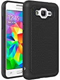 Grand Prime Case, LK [Shock Absorption] Hybrid Dual Layer Armor Defender Protective Case Cover for Samsung Galaxy Grand Prime (Black)