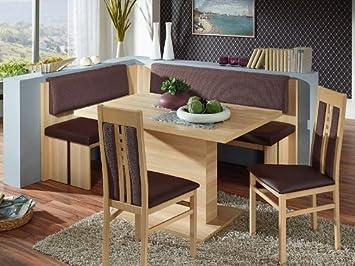 Eckbankgruppe Bremen Eiche Dekor Tisch mit fester Platte