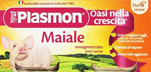 Plasmon - Omogenizzato con Carne, Maiale, Cottura al Vapore Senza Sale Aggiunto -  2x80 g