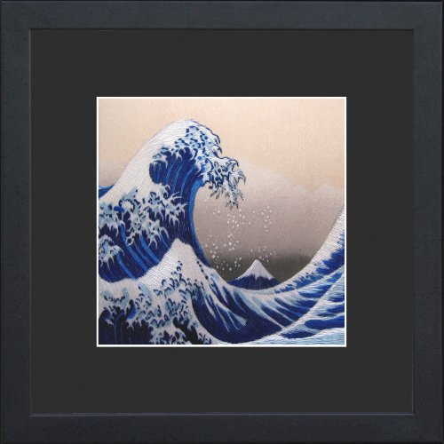 King Silk Art 100% Handmade Embroidery The Great Wave off Kanagawa - Hokusai Chinese Print Japanese Framed Landscape Painting Gift Oriental Asian Wall Art Décor Artwork Tapestry Hanging Picture Gallery 37130BFG