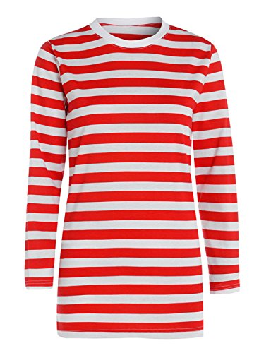 LADIES RED & WHITE STRIPED T-SHIRT VEST TOP LONG SLEEVE WOMEN FANCY DRESS OUTFIT#(Red And White Long Sleeve Shirt#X-Large#Womens)