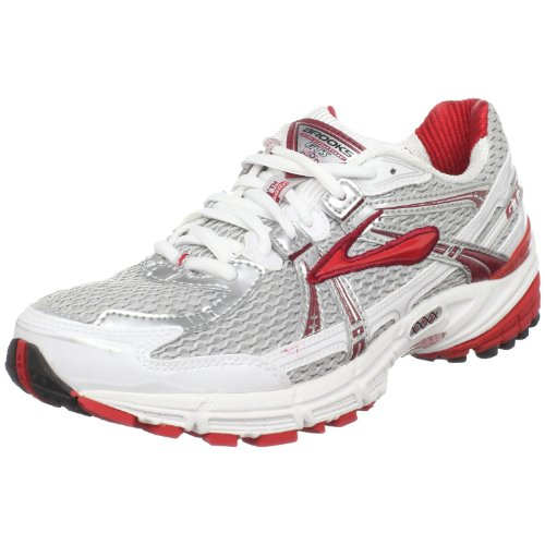 Brooks Women's Adrenaline Gts 11 Running Shoe,White/Silver/Biking Red/Black,9 B US