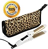 2-in-1 Mini Hair Straightener Flat Iron/Curling Iron Styler w/Nano Titanium Technology Dual Voltage Constant 374 Degree Temperature Insulated Carry Bag Included Ideal For Travel And Touch Ups