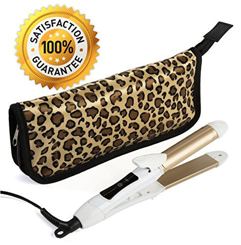 2-in-1 Mini Hair Straightener Travel Flat Iron/Curling Iron Dual Voltage 374 Degree Temperature Nano Titanium - Insulated Carry Bag Included (Professional Flat Iron 1 2 Inch compare prices)