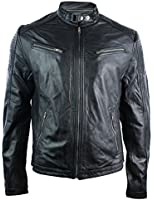 Mens Fitted Retro Style Zipped Biker Jacket Real Leather Black Urban