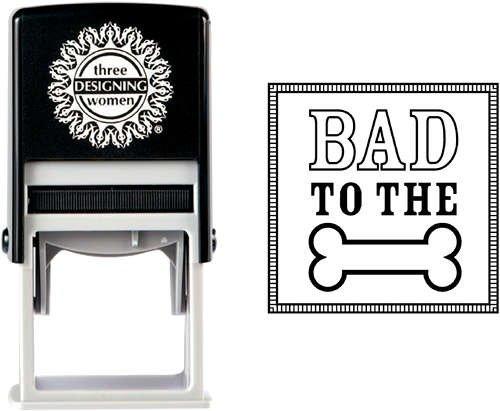 Three Designing Women Pet Lover Gift Self Inking Stamp Cube, Bone front-203487