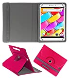 ACM ROTATING 360° LEATHER FLIP CASE FOR AMBRANE AQ880 TABLET STAND COVER HOLDER DARK PINK