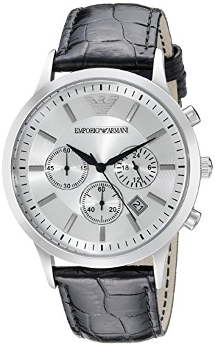 Emporio Armani Men's AR2432 Chronograph Stainless Steel and Black Leather Watch (Emporio Armani Black Dial compare prices)