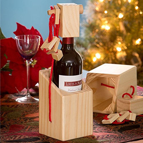 Bits and Piece - Bewildering Wine Bottle Brainteaser - Wooden Wine Bottle Puzzle - Great Gift for the Wine Lover (Wine Bottle Puzzle compare prices)