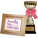 TiedRibbons Mothers Day Gifts From Daughter Quotes Engraved Wooden Photo Frame With Golden Trophy