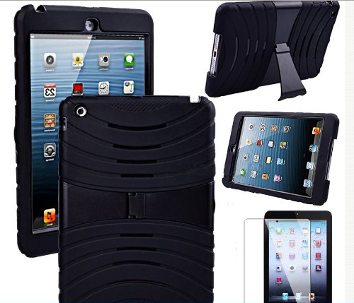 For Apple Ipad Mini Hybrid Hard Rubberized Kickstand Cover Case+screen Protector+stylus Touch Pen+bobbin Winder