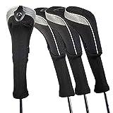 Andux ロングネック ゴルフ ハイブリッド クラブヘッドカバー 交換可能な番号タグ付き 4個セット (ブラック/グレー)