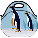 Snoogg Yellow Eyed Penguin Travel Outdoor Carry Lunch Bag Picnic Tote Box Container Zip Out Removable Carry Lunchbox...
