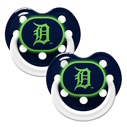 Detroit Tigers Glow in Dark 2-Pack Baby Pacifier Set - MLB Infant Pacifiers