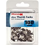 Officemate OIC Steel Thumb Tacks, 3/8-Inch Head, Silver, 100 Pack (92614)