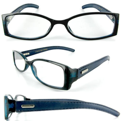 """Corinthian Leather"" designer fashion reading glasses for youthful men who read in style. Blue 1.25"