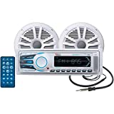 BOSS AUDIO MCK1308WB.6 Marine Package Includes MR1308UAB Single-DIN AM/FM MECHLESS Bluetooth Receiver, One Pair of 6.5 inch MR6W Marine Speakers, MRANT10 Marine Antenna