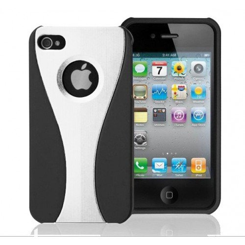 Iphone 4S And Iphone 4 Protective Case Black And White front-420078